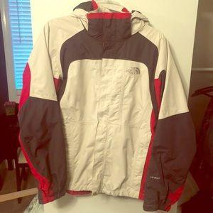 Northface White and Red Rain Jacket